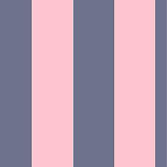 Wide Stripe Stripes Stripey Wallpaper Lines Bold Horizontal Vertical Rasch Navy/Pink