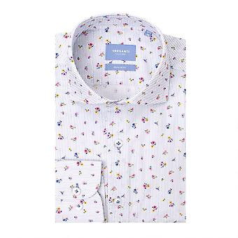 Tresanti Stripes And Flowers White Cotton Long Sleeve Men's Shirt