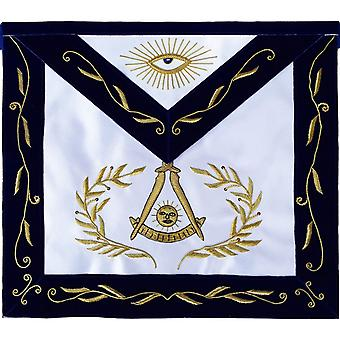Masonic Blue Lodge Past Master Apron Bullion Hand Embroidered-Satin