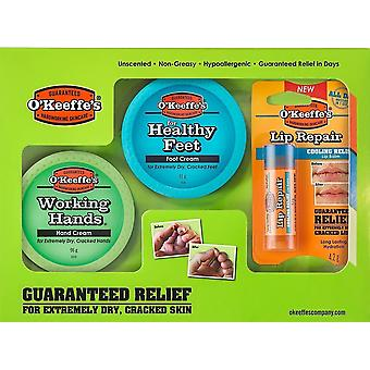 O ' Keeffe es Skincare Working Hands althy Feet and Lip Repair Multipack Gift Set
