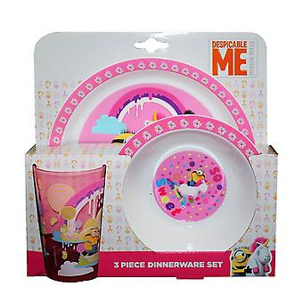 Despicable Me Childrens/Kids So Sweet Unicorn 3 Piece Dinner Set