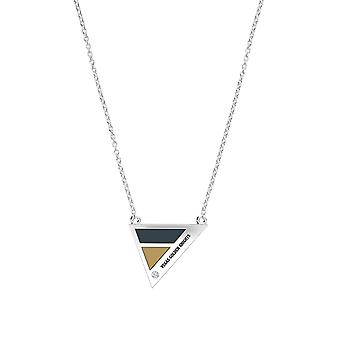 Vegas Golden Knights Engraved Sterling Silver Diamond Geometric In Necklace Black and Brown