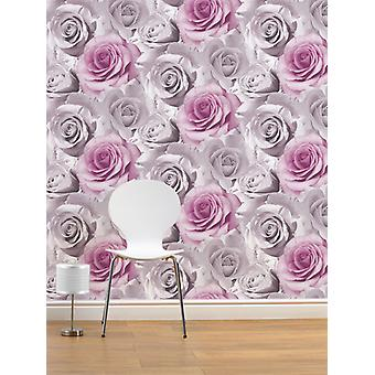 Madison Rose Floral Wallpaper Muriva