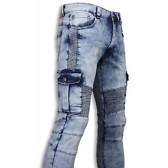 Biker Jeans - Slim Fit Biker Pocket Jeans - Light Blue