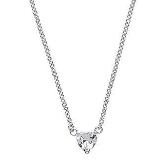 Jewelco Londen dames rhodium plated zilver wit Love hart CZ Love hart Solitaire charme hanger ketting 16 + 2 inch