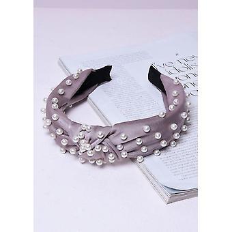 Satin Pearl Knot Headband Grey