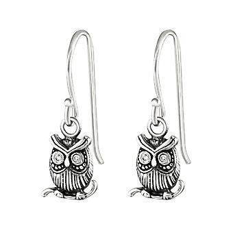 Owl - 925 Sterling Silver Cubic Zirconia Earrings - W36812X