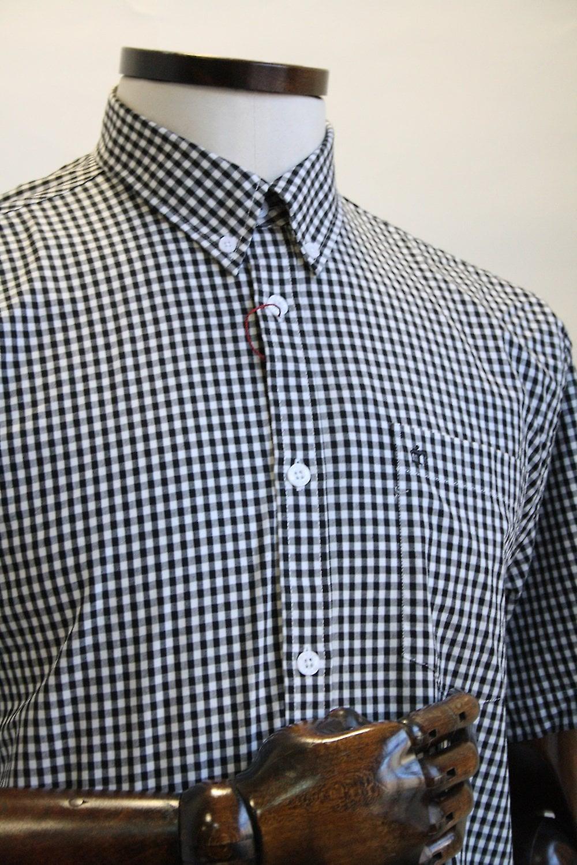 Merc London Terry Black Gingham Cotton Shirt