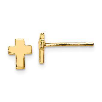 14k Ouro Amarelo Polido Fé Religiosa Cruz Pós Brincos Joias Joias Para Mulheres