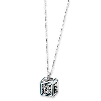 925 Sterling Silver Spring Ring Rhodium verguld met blauwe emaille ketting 18 Inch sieraden geschenken voor vrouwen