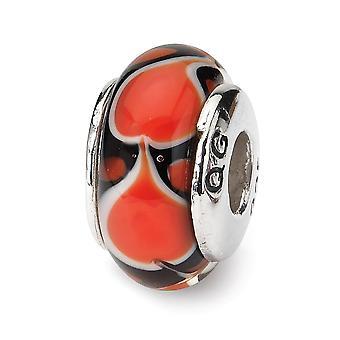 925 Sterling Silber poliert Finish Reflexionen rote Liebe Herz Murano Glas Perle Anhänger Anhänger Halskette Schmuck Geschenke fo