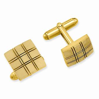 14k Gold Plated Solid Satin Patterned Square Double Lines Cuff Links Jewelry Gifts for Men