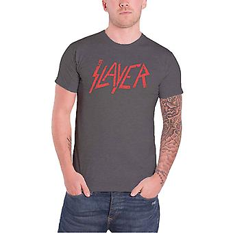 Slayer T Shirt Distressed Classic Red Band Logo Official Mens New Charcoal Grey