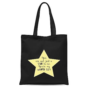 You Are Not Just A Star To Me Yellow Star Tote Bag - Black