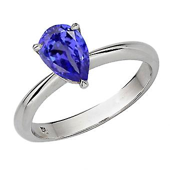 Dazzlingrock Collection 14K 8X6mm Pear Cut Tanzanite Solitaire Bridal Engagement Ring, Oro Blanco