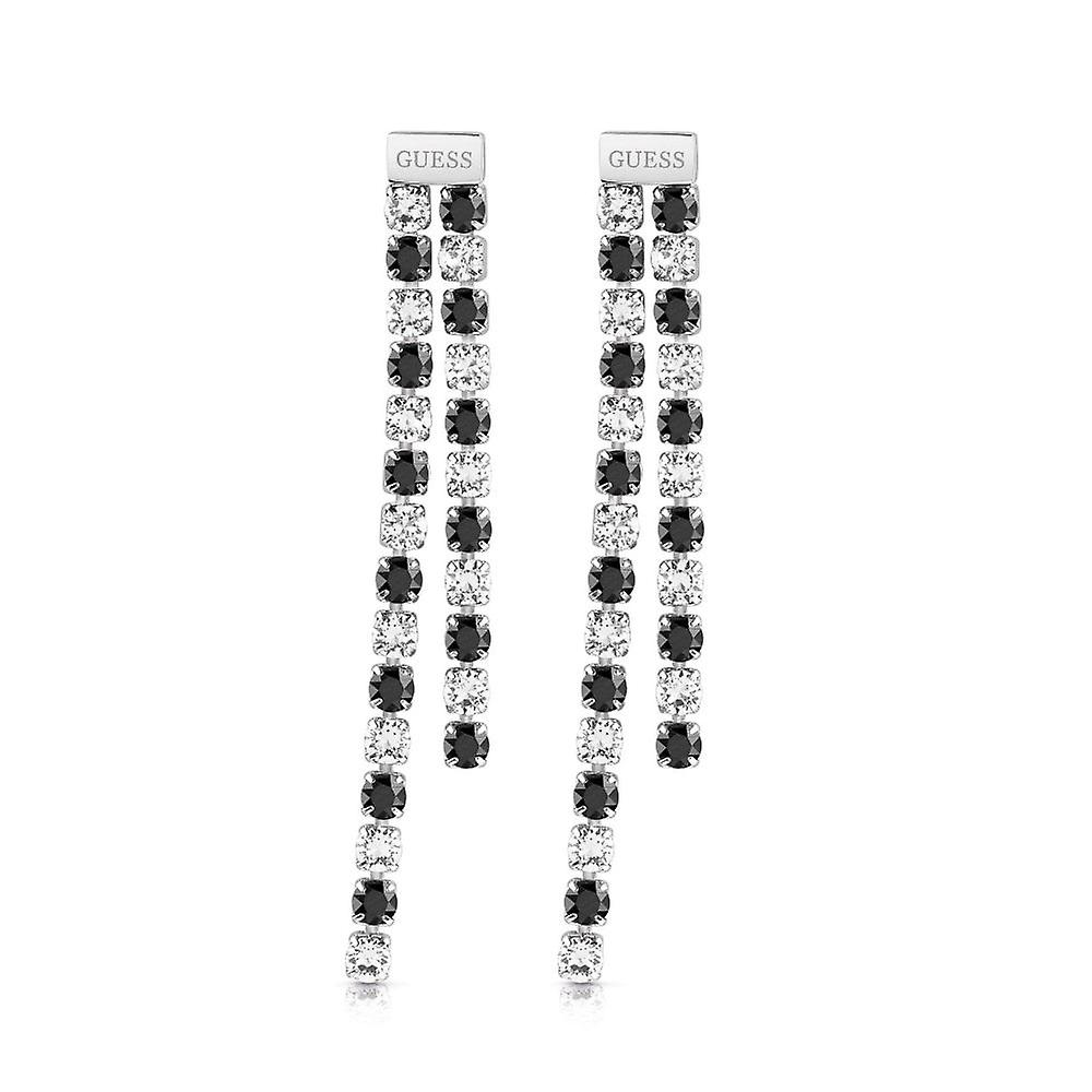 Guess Jewellery 2 Rows Black White Crystals Silver Earrings UBE29074