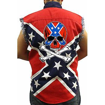 Camisa de bandera rebelde confederada sin mangas Cráneo y Crossbones Biker Camisa