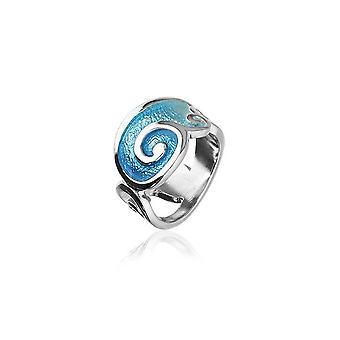 Sterling sølv traditionelle skotske ' ro ' design ring med varmt glas emalje