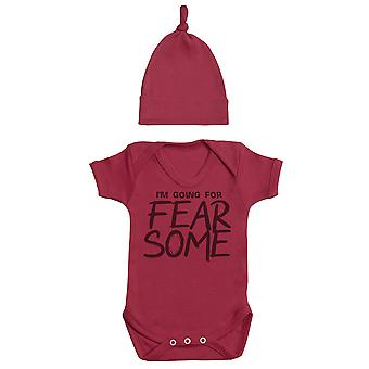I'm Going For FEARSOME, Red Baby Bodysuit, Red Baby Tietop Hat, Baby Outfit