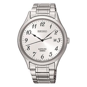 Seiko Sapphire Silver Stainless Steel White Dial Quartz Men's Watch SGEH73P1
