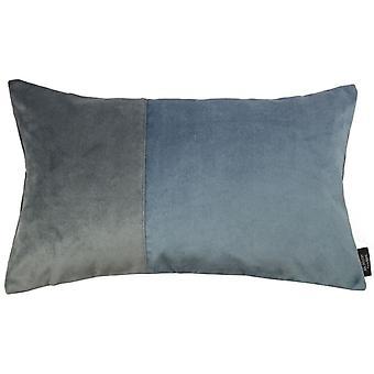 McAlister textilier 2 färg lapp täcke sammet blå + grå kudde