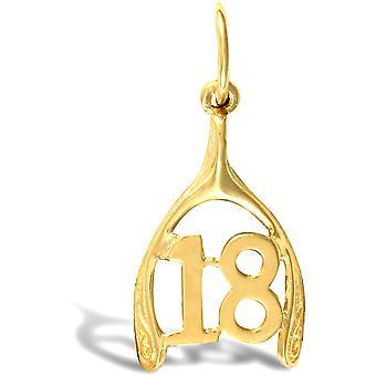 ジュエルコ ロンドン レディース ソリッド 9ct イエローゴールド 18 バースデーウィッシュボーン チャーム ペンダント