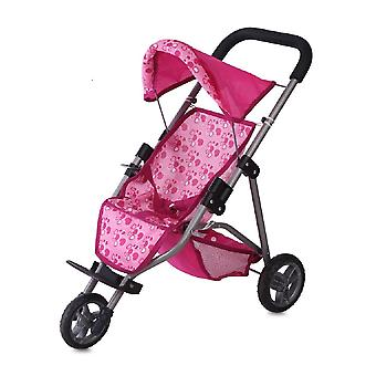 Lorelli doll buggy in pink with hearts, three wheels, storage basket, foldable