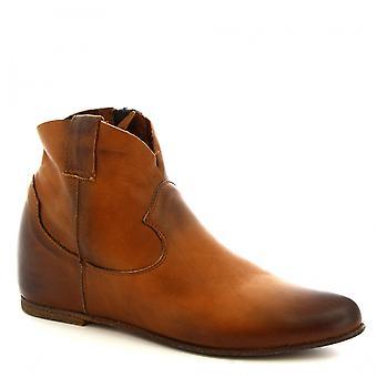 Leonardo schoenen vrouwen ' s handgemaakte enkellaars in Tan kalf lederen kant zip