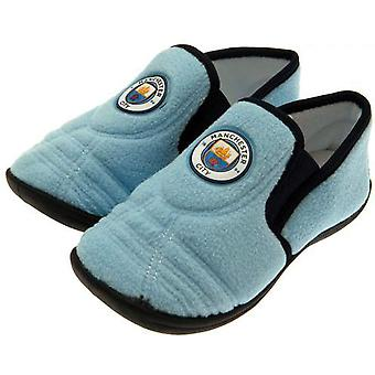 Manchester City FC Official Childrens/Kids Football Goal Heel Slippers