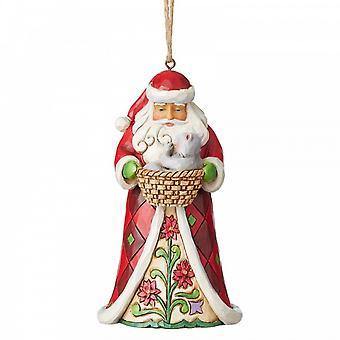 Jim Shore kernhout Creek Santa met kat in mand opknoping ornament