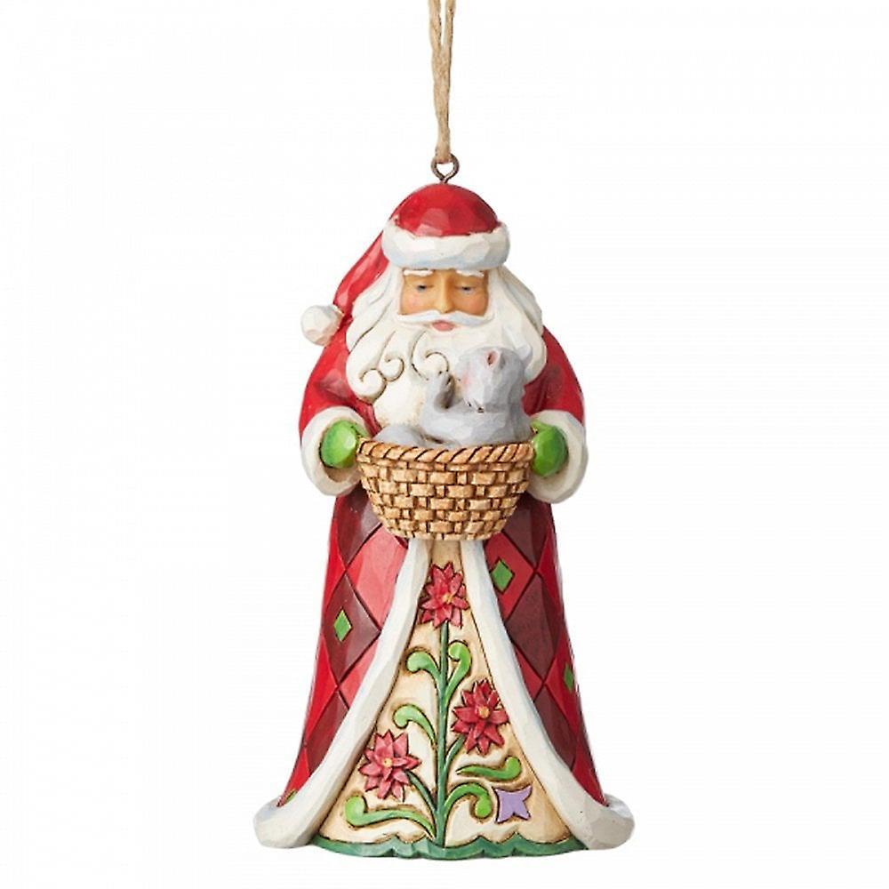 Jim Shore Heartwood Creek Santa With Cat In Basket Hanging Ornament