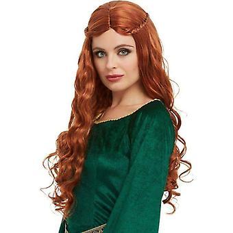 Middeleeuwse prinses pruik volwassen Auburn