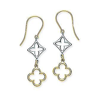 14k oro amarillo y blanco dos tonos trébol largo gota colgante pendientes regalos de joyería para las mujeres