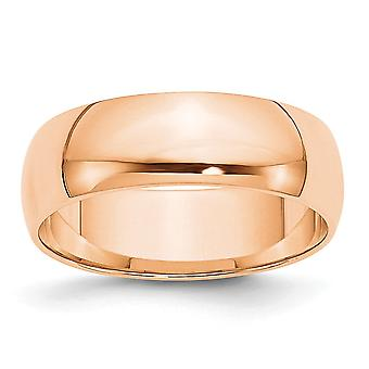 10k Rose Gold 6mm Ltw Half Round Band Ring Jewelry Gifts for Women - Ring Size: 4 to 14