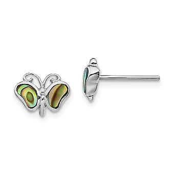 925 plata esterlina Rhodium plateado abalone perla mariposa ángel alas post pendientes regalos de joyería para las mujeres
