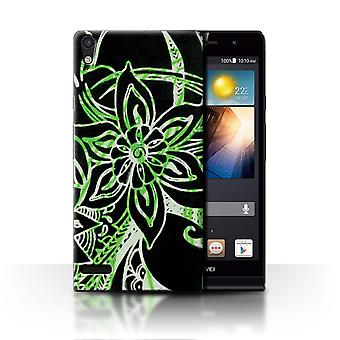 STUFF4 Case/Cover for Huawei Ascend P6/Green/White/Henna Paisley Flower