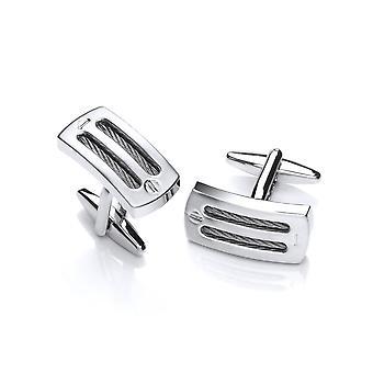 David Deyong Rhodium Plated Screw & Wire Cufflinks