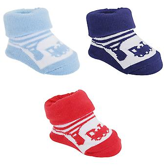 Baby Boys Train Print Socks With Gift Pouch (Pack Of 2)