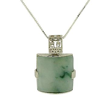 TOC Natural Jadeite Square Sterling Silver Pendant Necklace 18