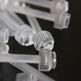 60x Clear Thumbscrews, slotted-knurled M4 x 30mm