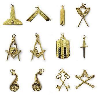 الماسونية الذهب طوق جوهرة مجموعة من 12