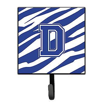 Letter D Initial Tiger Stripe Blue and White Leash Holder or Key Hook