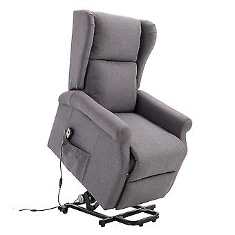 HOMCOM Electric Lift Chair Stand Assist Recliner Armchair Linen Fabric Functional w/ Remote Control Home Living Room Furniture Grey