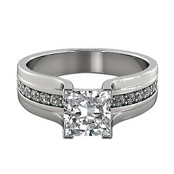 1.35 Carat F SI2 Diamond Engagement Ring 14K White Gold Solitaire w Accents Bridge Channel set