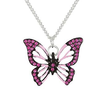 Eternal Collection Flutter By Butterfly Pink Crystal Silver Tone Pendant