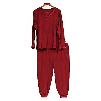 Anybody Women's Petite Lounge Set Cozy Knit Velour PJ Set Red A345312