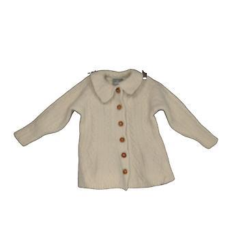 Aran Women's Sweater Super Soft Merino Collared Cardigan Ivory