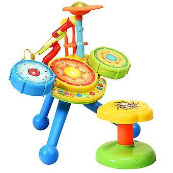 2-in-1 Kids Jazz Drum Set Electronic Toy Drum Kit Musical Rock Band Drum Stool