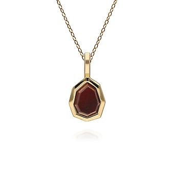 Irregular B Gem Red Jasper Pendant Necklace in Gold Plated Sterling Silver 271P017604925