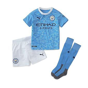 Puma Manchester City 2020/21 Junior Kids Mini Home Football Kit Blue